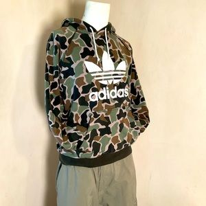 Adidas classic logo camouflage pullover hoodie